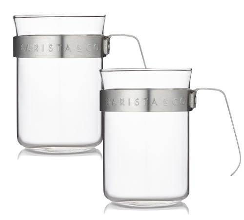 eb526ba6b67 Set of 2 glass cups with stainless steel handles by Barista&Co ...