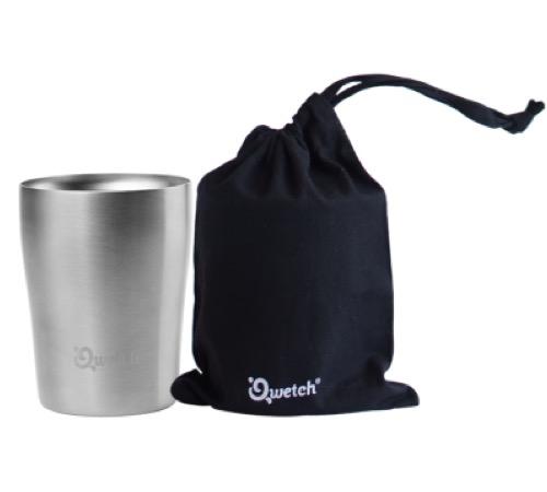 Isotherme Cup De Poche Qwetch En Coton Inox Double Avec 250ml Bio Noire Transport Paroi L5RjA4