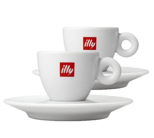 Illy Set of 2 Porcelain Espresso Cups and Saucers 6 cl