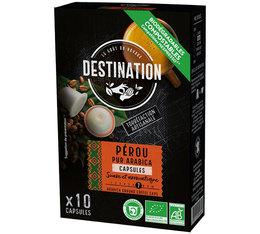 Destination 'Peru' organic coffee - 10 biodegradable & compostable capsules for Nespresso