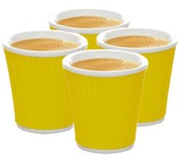 4 tasses avec bandeau en silicone ondulé Jaune 10cl - Les Artistes Paris
