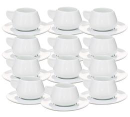 12 tasses et sous-tasses blanches - 9cl X 12