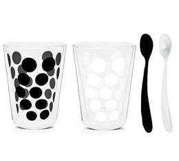2x35cl 'Dot Dot' double wall glasses + 2 teaspoons - Zak