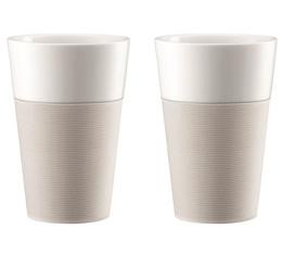 e16367016ed 2x60cl Bistro porcelain mugs with creamy white silicon band - Bodum
