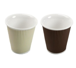 Coffret de 2 tasses 18cl Blanc cassé et Chocolat - les Artistes Paris