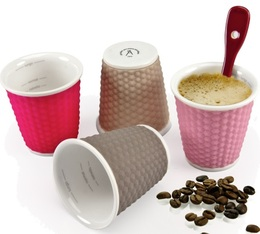 27b508123fa 4 x Honeycomb porcelain cups with silicon surround (pink tones) 10cl - Les  Artistes