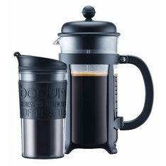 Bodum Java French Press in black + Bodum travel mug