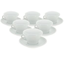 6 Tasses Cappuccino 15cl + sous-tasse + couvercle - Ancap