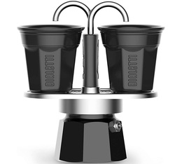 Bialetti Mini Express in black with 2 bicchierini cups