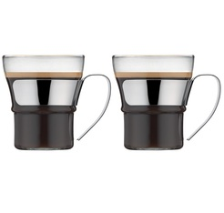 2x30cl Assam cappuccino/tea glass mugs with stainless steel handle by Bodum