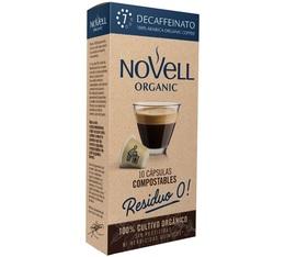 Capsules biodégradables Decaffeinato Novell Organic x10 compatibles Nespresso