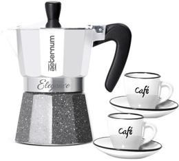 Aeternum Elegance Petraverra 3-cup moka pot in white + 2 cups and saucers.