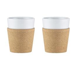 2 tasses en porcelaine et liège Bistro 30 cl - Bodum