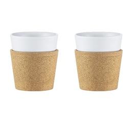 2 tasses en porcelaine et liège Bistro 17 cl - Bodum