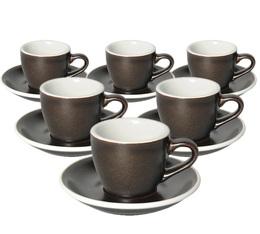6 Tasses Espresso et sous-tasses Egg 8cl Gunpowder - Loveramics