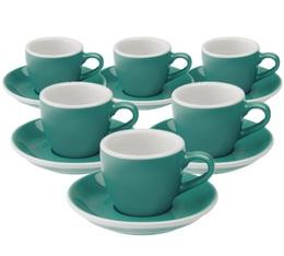 6 Tasses Espresso Egg et Sous-Tasses Teal 8 cl - Loveramics