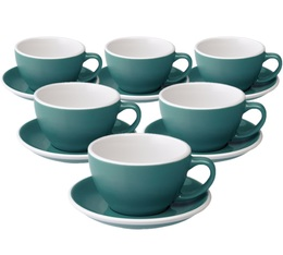 6 Tasses Café Latte et sous-tasses Egg 30 cl Teal - Loveramics