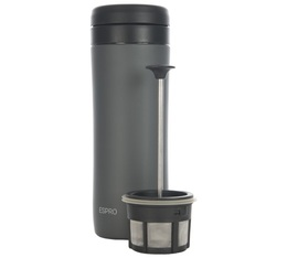 Mug travel press Gunmetal Gris avec filtre à café 35cl - Espro