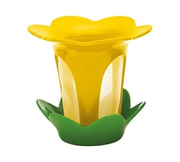 Yellow and green Flower tea filter with saucer - Zak!designs