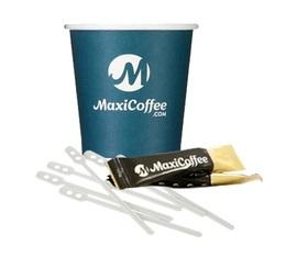 Lot de 250 gobelets Maxicoffee expresso 12 cl + touillettes + sucres