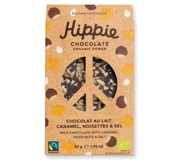 Tablette Chocolat au lait, caramel, noisettes & sel - 50g - Hippie Chocolate