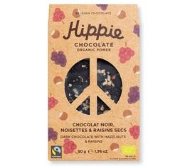 Tablette Chocolat noir, noisettes & raisins secs - 50g - Hippie Chocolate