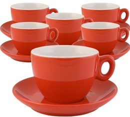 Inker Set of 6 red porcelain cups & saucers for cappuccino - 160ml capacity