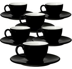 6 Tasses et sous tasses cremaware noir - 18 cl