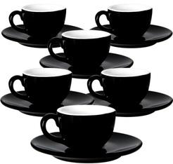 6 Tasses et sous tasses cremaware noir - 9 cl
