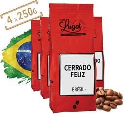 Café en grains : Brésil Cerrado Feliz - 1Kg - Cafés Lugat