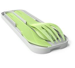 Set Monbento Pocket Color Apple biodégradable (couteau + fourchette + cuillère)