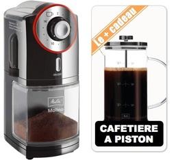 Moulin à café Melitta Molino noir rouge + Cafetière à piston 8 tasses