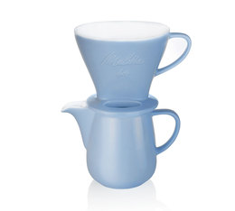 Verseuse + porte-filtre 4 tasses Classic Edition en porcelaine, bleu - Melitta