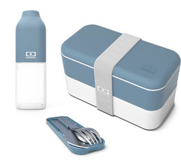 Monbento Original lunch pack in blue: MB lunchbox, drinking bottle & cutlery set