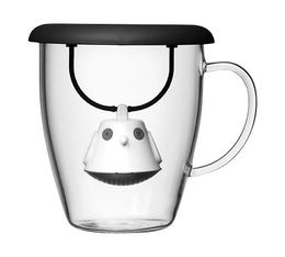 400ml glass mug + black Birdie tea infuser with lid by QDO