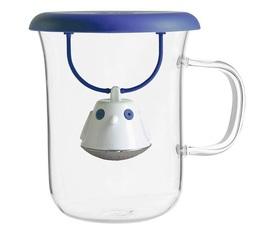 Tasse en verre 40cl et couvercle infuseur à thé Birdie Bleue - QDO