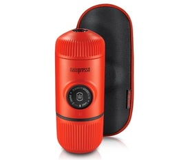 Wacaco Nanopresso for ground coffee in Lava Red with protective case