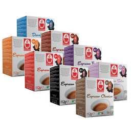 Pack découverte - 128 capsules compatibles Lavazza a Modo Mio® (Classico, Corposo, Intenso, o'Vesuvio)