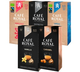 Selection pack - 50 Café Royal capsules (including Organic and Flavoured) for Nespresso