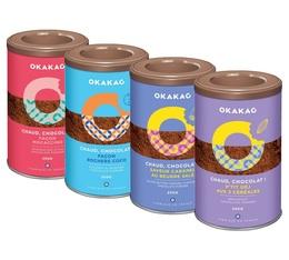 Pack découverte 4 saveurs Chocolat en poudre 4x250g - Okakao