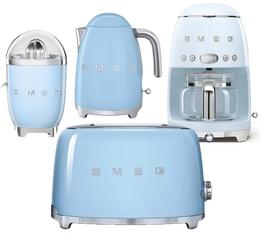 Pack Petit Déjeuner (Toaster - Cafetière filtre - Presse Agrumes - Bouilloire) Années 50 Bleu Azur - SMEG