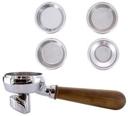 Porte-filtre 2 becs manche en noyer avec 4 filtres
