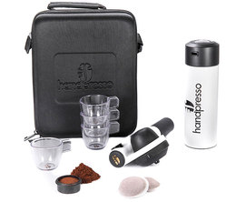 White Handpresso Pump travel set for ESE pods & ground coffee