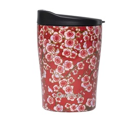 QWETCH Red Flowers insulated travel mug with lid - 240ml