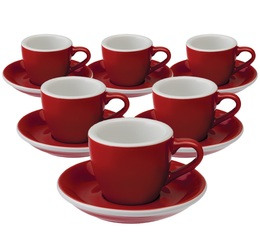 6 Tasses Espresso et sous-tasses Egg 8 cl Red - Loveramics