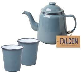 Falcon Enamelwear - Pigeon Grey enamel Tea set with teapot + 2 cups & Free tea
