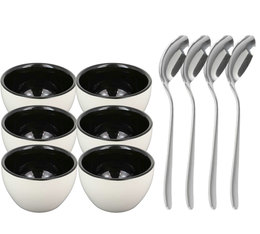 Ensemble 6 bols à cupping + 4 cuillères argentées