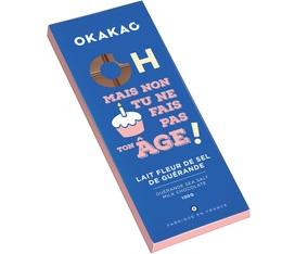 Tablette chocolat au lait et fleur de sel Anniversaire - 100g - Okakao