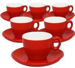 6 tasses et sous-tasses en porcelaine Inker rouges de 7cl pour espresso