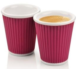 Les Artistes de Paris 2x porcelain cup with dark pink silicone band - 180ml